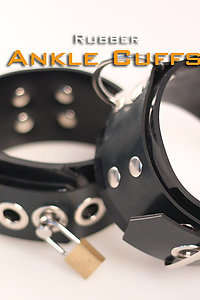 Rubber Black Ankle Cuffs