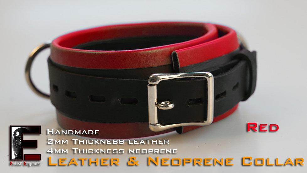 Red Collar-neoprene & leather