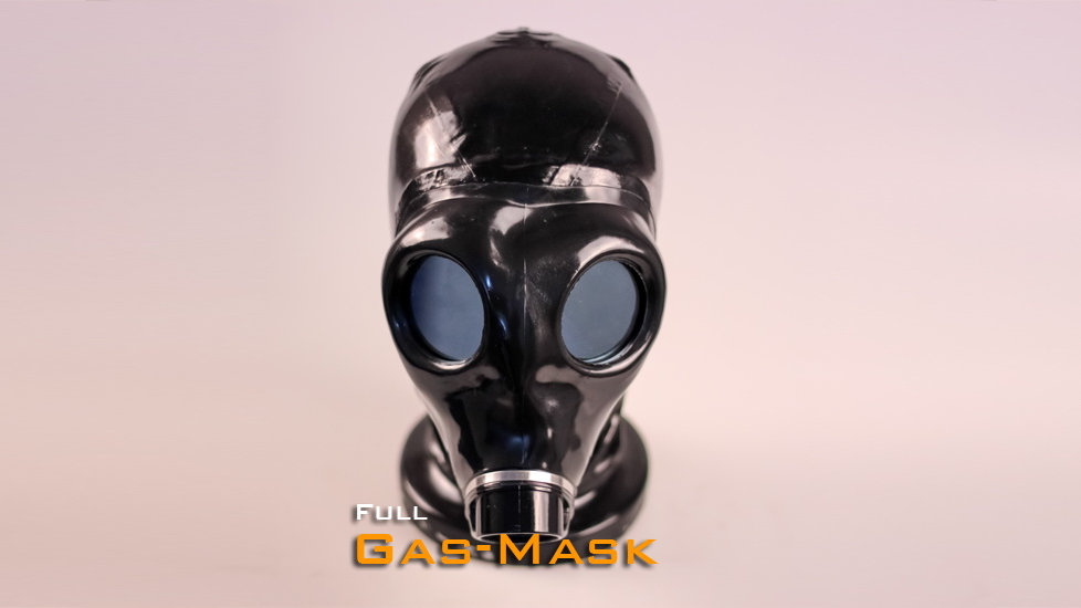 Latex Gas Mask Hood with Zipper