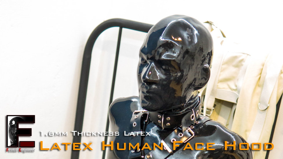 Latex Human Face Hood with Zip Back-1.6mm