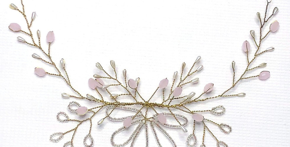 Pink Back Circlet Bridal hair jewelry accessories - Handmade