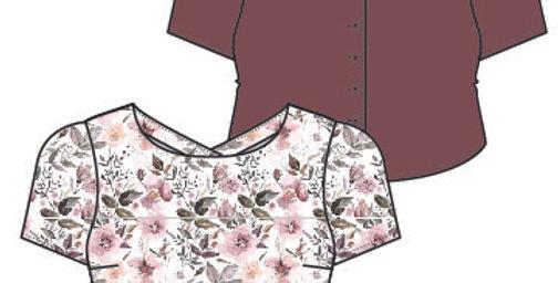 Silky Satin Crop Blouse Top - Short Sleeves - V Back Neckline