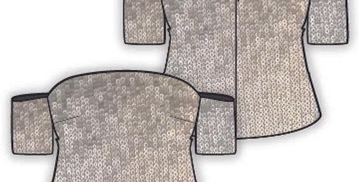 Off Shoulder Sequins Crop Top - Sleeves