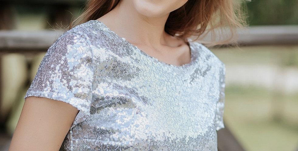 Sequins Luxe Crop Top - Short Sleeves - V Back Neckline