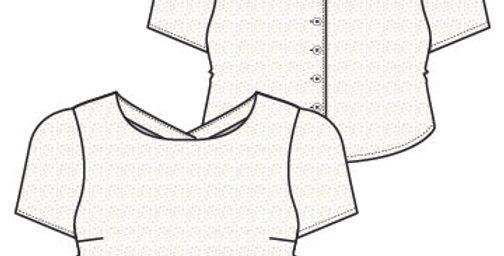 Crop Top Blouse - Short Sleeve - Sleeveless - Back Button Opening