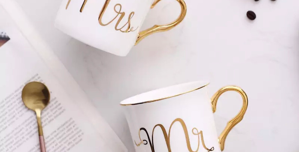 Mr. & Mrs. Coffee cup set | White & Gold