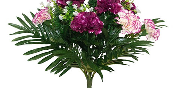 Carnations and tropical leaf bouquet