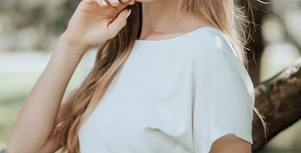 Silky Satin Luxe Blouse Top - Short Sleeves - V Back Neckline