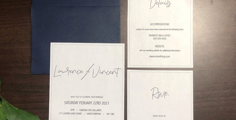 Minimalist Invitation - 3 Sheet Set - English Version