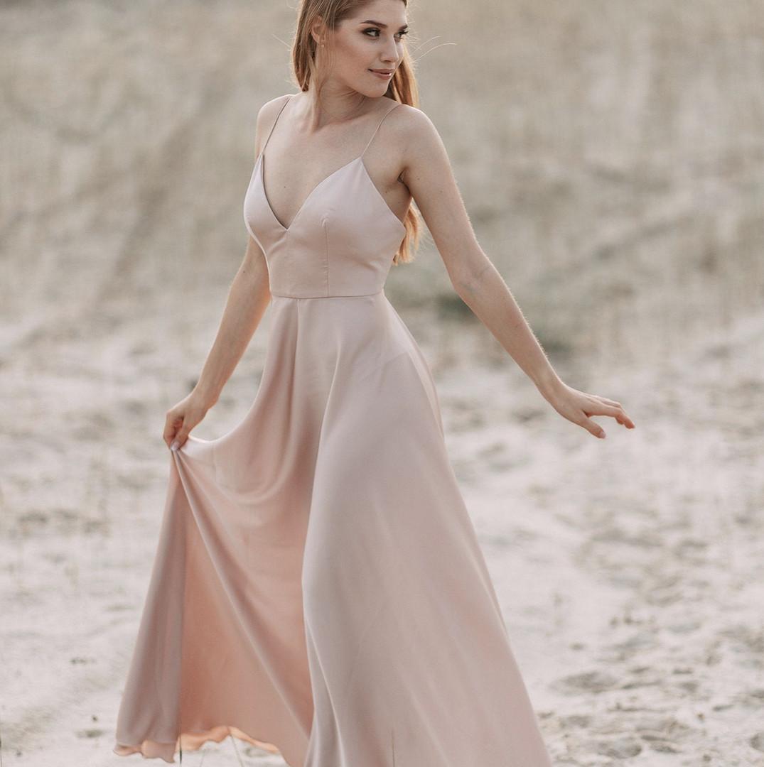 Satin Silky Bridesmaid Dress - Main View