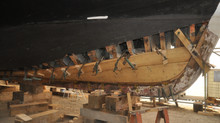 First pieces of hull planking laid on La Savoie