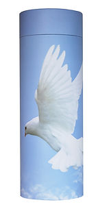 photograph of funeral cremation ashes scatter tube plain dove in flight design in lincolnshire