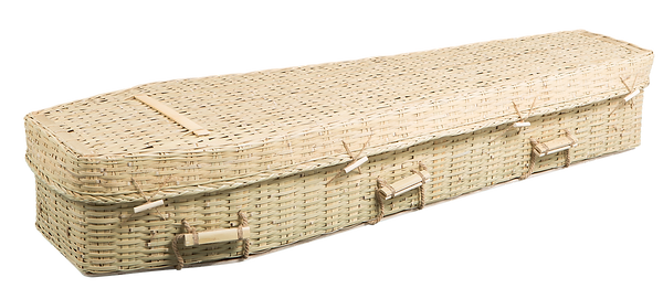 photograph of environmental casket bamboo sustainable and biodegradable coffin