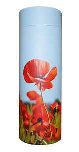 photograph of funeral cremation ashes scatter tube red poppies scene design mark forth lincolnshire