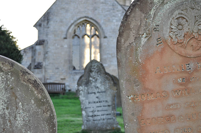 photograph of headstones and lincolnshire churchyard