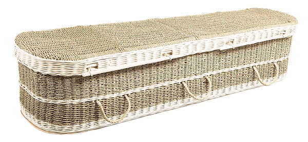 photograph of environmental casket seagrass sustainable renewable resource natural and biodegradable coffin in lincolnshire mark forth