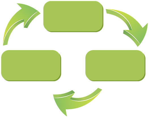 graphic showing cardboard recycling process