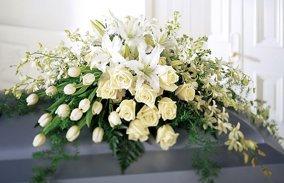 Photograph of white roses and lilies of a funeral bouquet laying coffin in spalding lincolnshire for mark forth