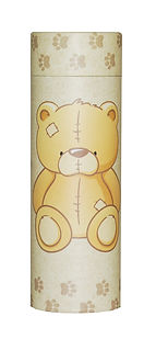 photograph of funeral cremation ashes scatter tube child infant teddy bear design mark forth