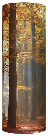 photograph of funeral cremation ashes scatter tube autumn forest design in lincolnshire