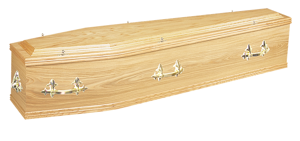 photograph of Lincoln oak veneered coffin with fleur handles for sale lincolnshire
