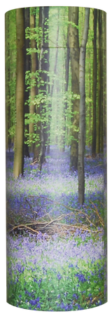 photograph of funeral cremation ashes scatter tube bluebell wood design in lincolnshire