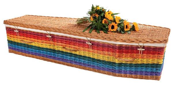 rainbow coloured willow wicker casket coffin green burial