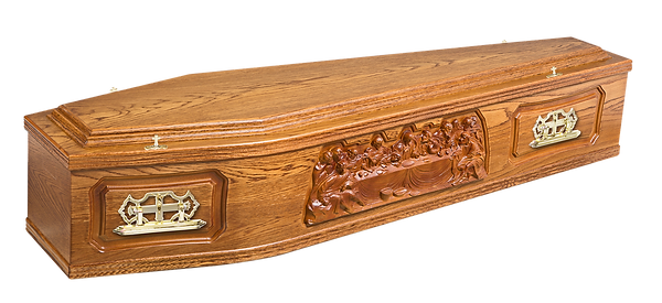 photograph of  last supper stained oak veneered coffin with last supper relieve image panels with 300/7 handles and catholic screws and washers for sale lincolnshire