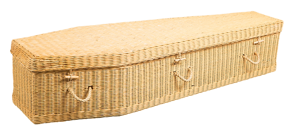 photograph of environmental casket wicker sustainable natural and biodegradable coffin