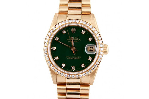 Rolex Datejust President Green Diamond Dial 31mm Yellow Gold & Diamonds