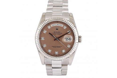 Rolex Day-Date Pink Diamond Dial 36mm White Gold
