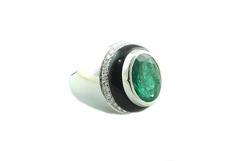 Emerald, Onyx and Diamond Ring