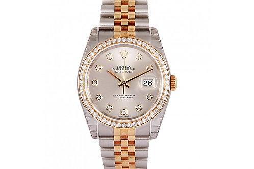 Rolex Datejust Silver Diamond Dial 36mm Steel, Yellow Gold & Diamonds