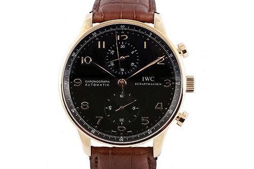 IWC Portuguese Chronograph Black Dial 40.9mm Rose Gold