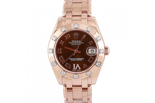 Rolex Pearlmaster Datejust Chocolate Diamond Dial 34mm Rose Gold & Diamonds
