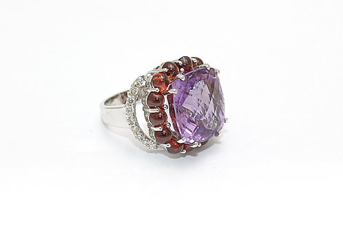 Amethyst, Garnet and Diamond Designer Ring