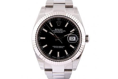 Rolex Datejust Black Dial 41mm Steel & White Gold
