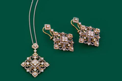 Fancy Color Diamond Pendant and Earring