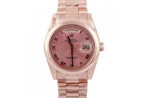 Rolex Day-Date Pink Roman Dial 36mm Rose Gold