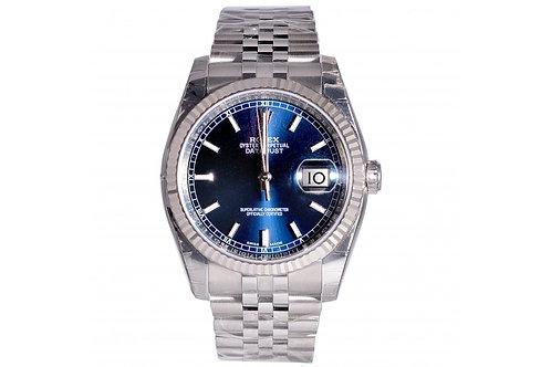 Rolex Datejust Blue Roman Dial 36mm Steel & White Gold