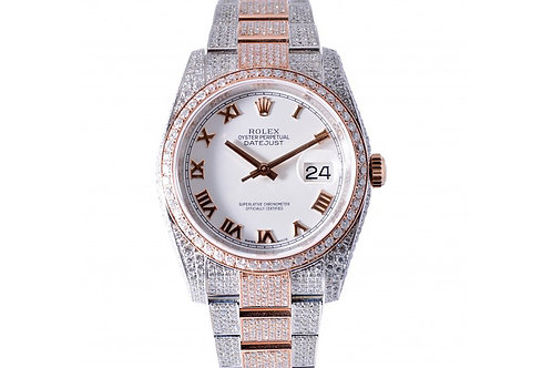 Rolex Datejust White Roman Dial 36mm Steel, Rose Gold & Diamonds