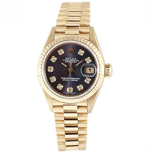 Rolex Datejust Blue Diamond Dial 26mm Yellow Gold