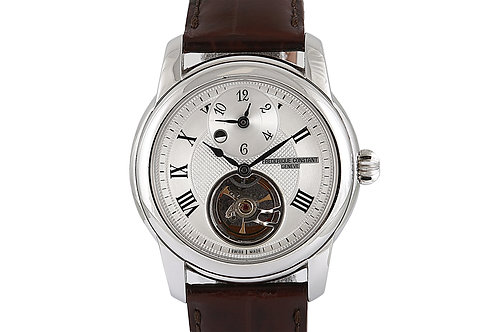 Frederique Constant Heart Beat GMT 42mm Steel with Brown Leather Strap
