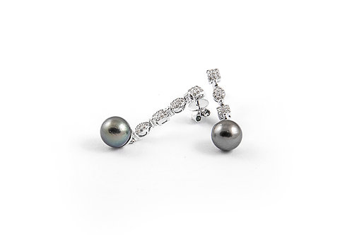 Black Pearl and Diamond Earring