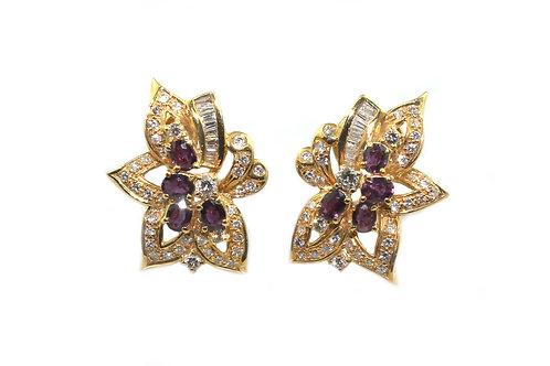 Designer Ruby and Diamond Earrings
