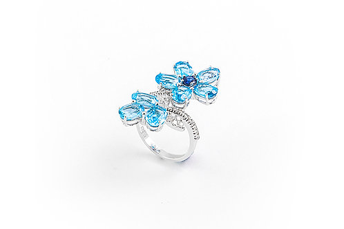 Cute Blue Topaz and Sapphire Flower Ring