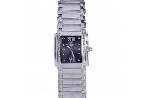 Patek Philippe Twenty-4 Black Diamond Dial 25mm Steel & Diamonds