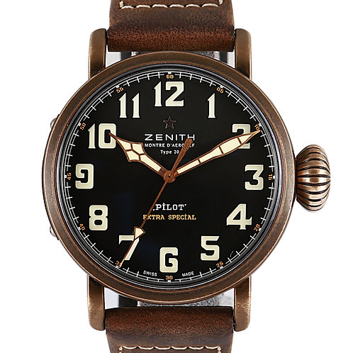 Zenith Pilot Type20 Steel with Leather Strap 45mm