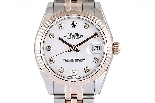 Rolex Datejust 31mm Steel & Rose Gold with White Diamond Dial