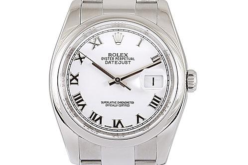 Rolex Datejust White Roman Numeral Dial Steel 36mm